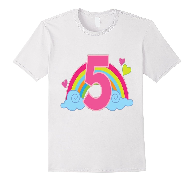 Kids 5th Birthday T Shirt Rainbow Girls Party 5 Year Old Pho BN