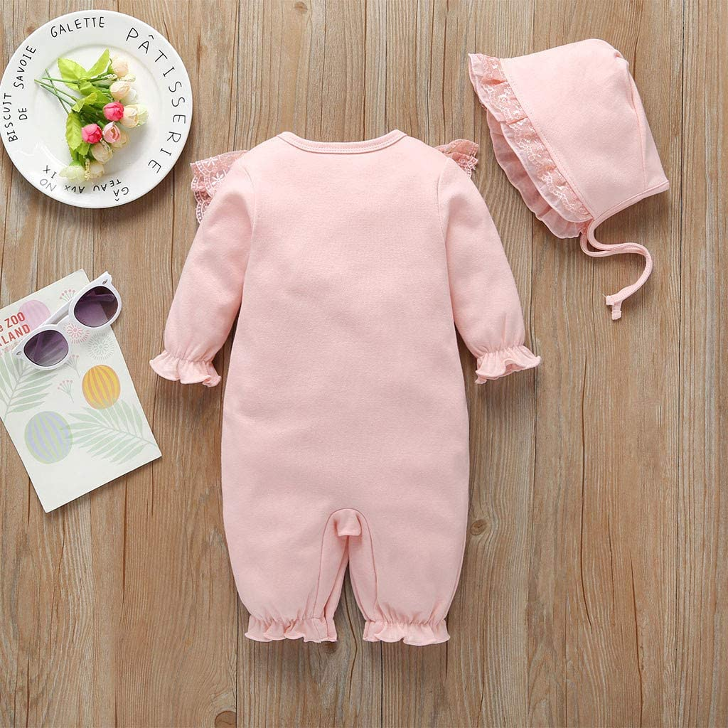 Red,0-3 Months Ruffle Rompers For Baby Girls Sagton Newborn Infant Baby Girls Solid Ruffles Lace Romper Jumpsuit+Hat Outfits Sets