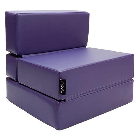 MiPuf - Sofá Puf Cama Plegable - 190x80x20 cm - Tejido Polipiel Alta Resistencia - Doble Costura - Interior Foam Alta Densidad - Violeta - 4 años de ...