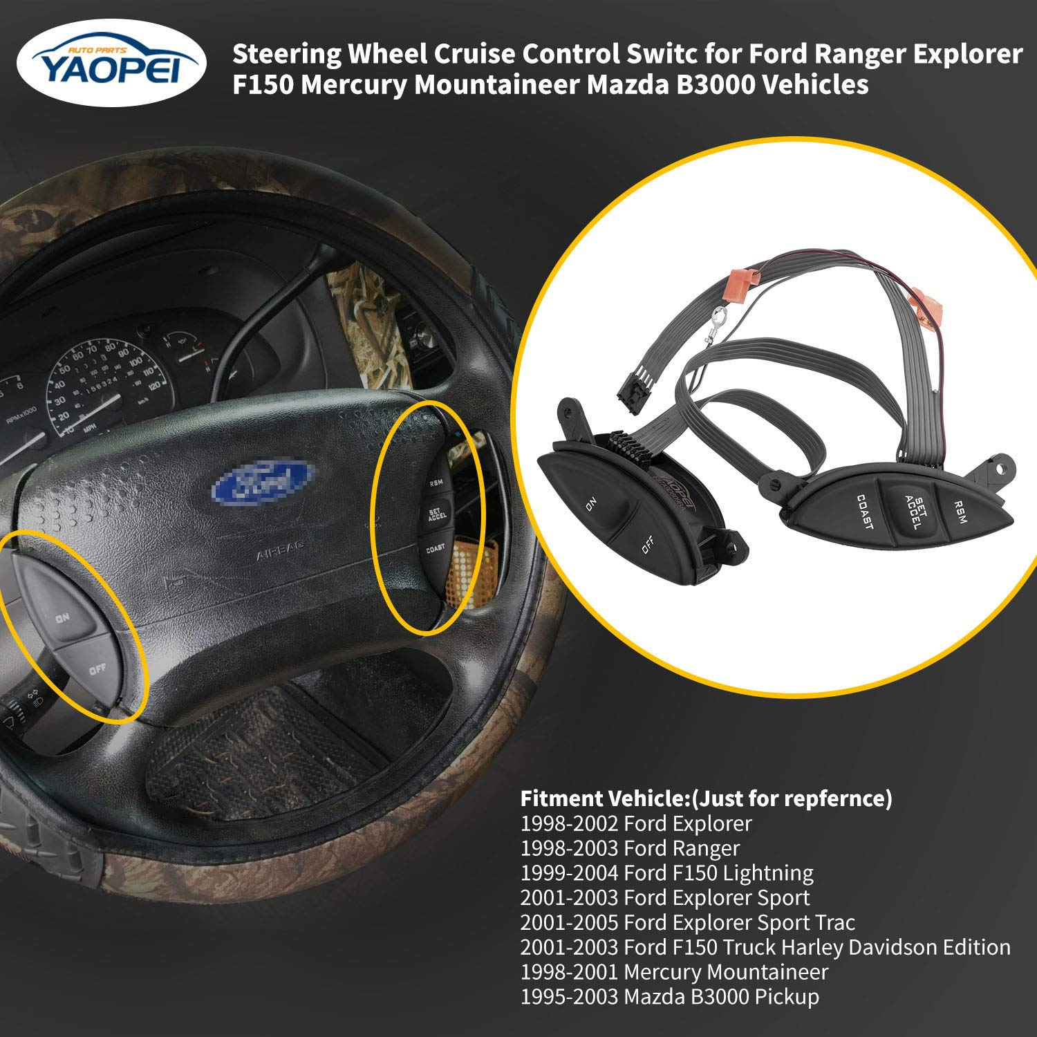 YAOPEI F87A-9D809-BA Steering Wheel Cruise Control Switch for Ford Explorer Ranger F150 Mercury Mountaineer Mazda Replace OE# SW-5928 F87Z-9C888-BB