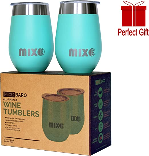 12 Oz Stemless Wine Glass Set Of 2 Insulated Glasses Unbreakable Stainless Steel