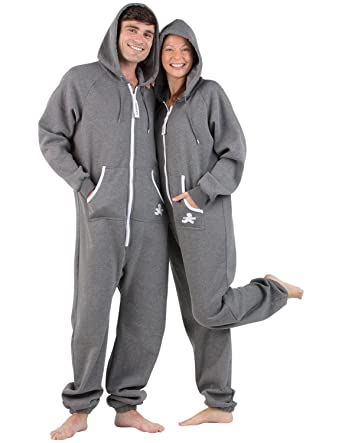 Amazon.com  Joggies - Charcoal Gray Adult Footless Hoodie Onesie ... 1ab08e9f5