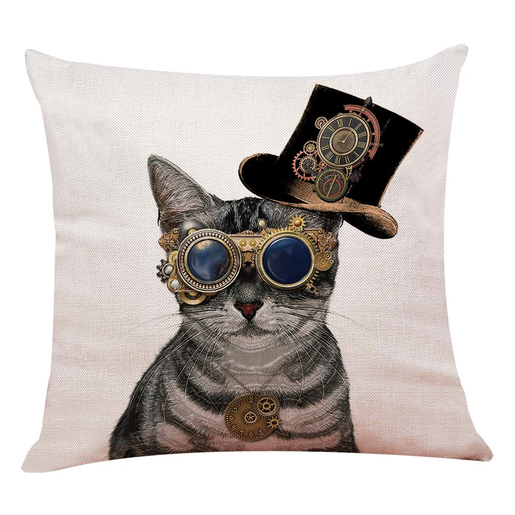 "yuzi-n Steampunk Cat Throw Pillow Covers, Cushion Cover for Sofa Couch Decor Home Decor 18""x 18""Inch, Funny Cat Decor"