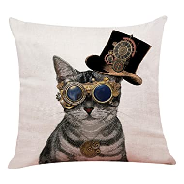 """yuzi-n Steampunk Cat Throw Pillow Covers, Cushion Cover for Sofa Couch Decor Home Decor 18""""x 18""""Inch, Funny Cat Decor"""