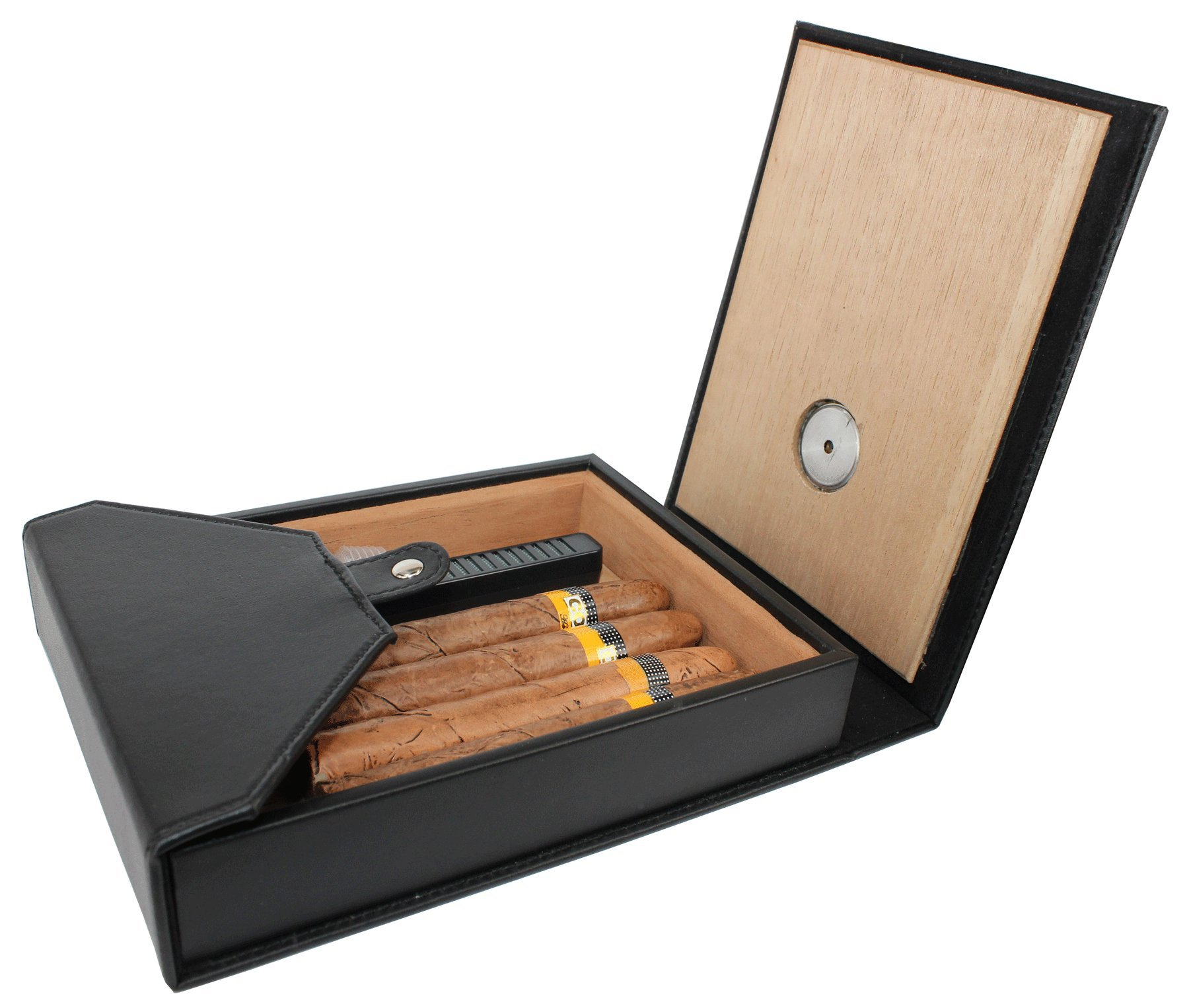 AMANCY Beautiful 5-10 Capacity Cedar Wood Lined Leather Portable Travel Cigar Humidor Case,Easily Carry Anywhere by AMANCY (Image #5)