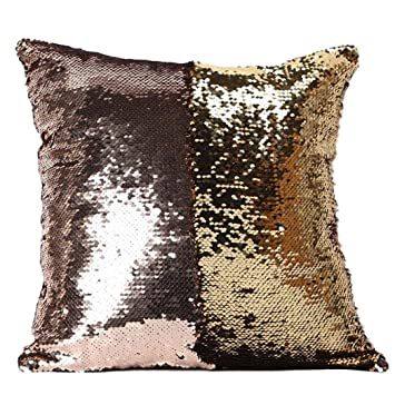 Hatop Double Color Glitter Sequins Throw Pillow Case Cafe Home Decor Cushion Covers H