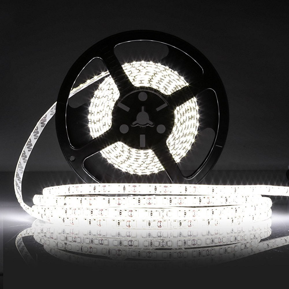LEDMO Waterproof SMD2835 15lm CRI80 600 LED Strip Light, White (6000K)