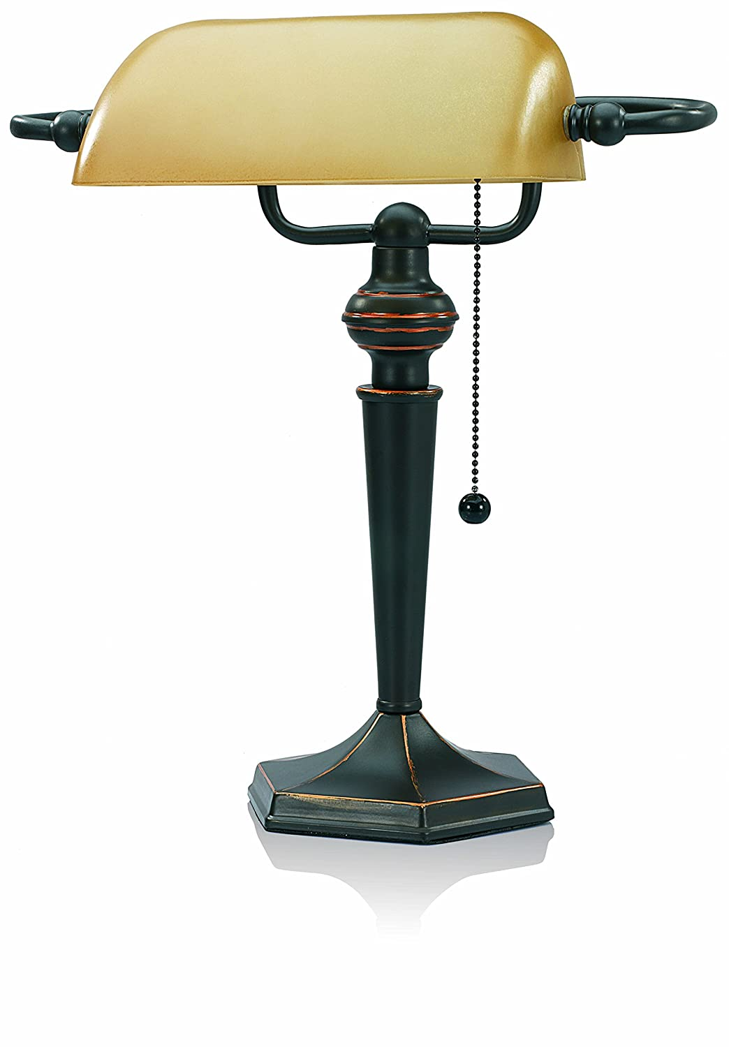 Amazon.com : V-LIGHT Traditional Style CFL Banker's Desk Lamp with Amber  Glass Shade (CAVS91045BRZ) : Office Products - Amazon.com : V-LIGHT Traditional Style CFL Banker's Desk Lamp With