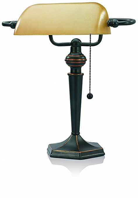 Delicieux V LIGHT Traditional Style CFL Bankeru0027s Desk Lamp With Amber Glass Shade  (CAVS91045BRZ)