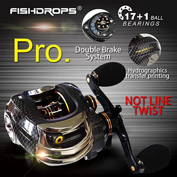 Fishdrops Ultra Smooth Dual Braking System 18 Ball Bearings Baitcasting Fishing Reel--Low profile Carp Fishing Gear--The Perfect Warrior for Bass ...