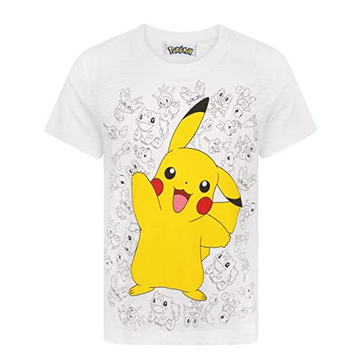 d865a858 Amazon.com: Pokemon Pikachu Wave Boy's T-Shirt White: Clothing