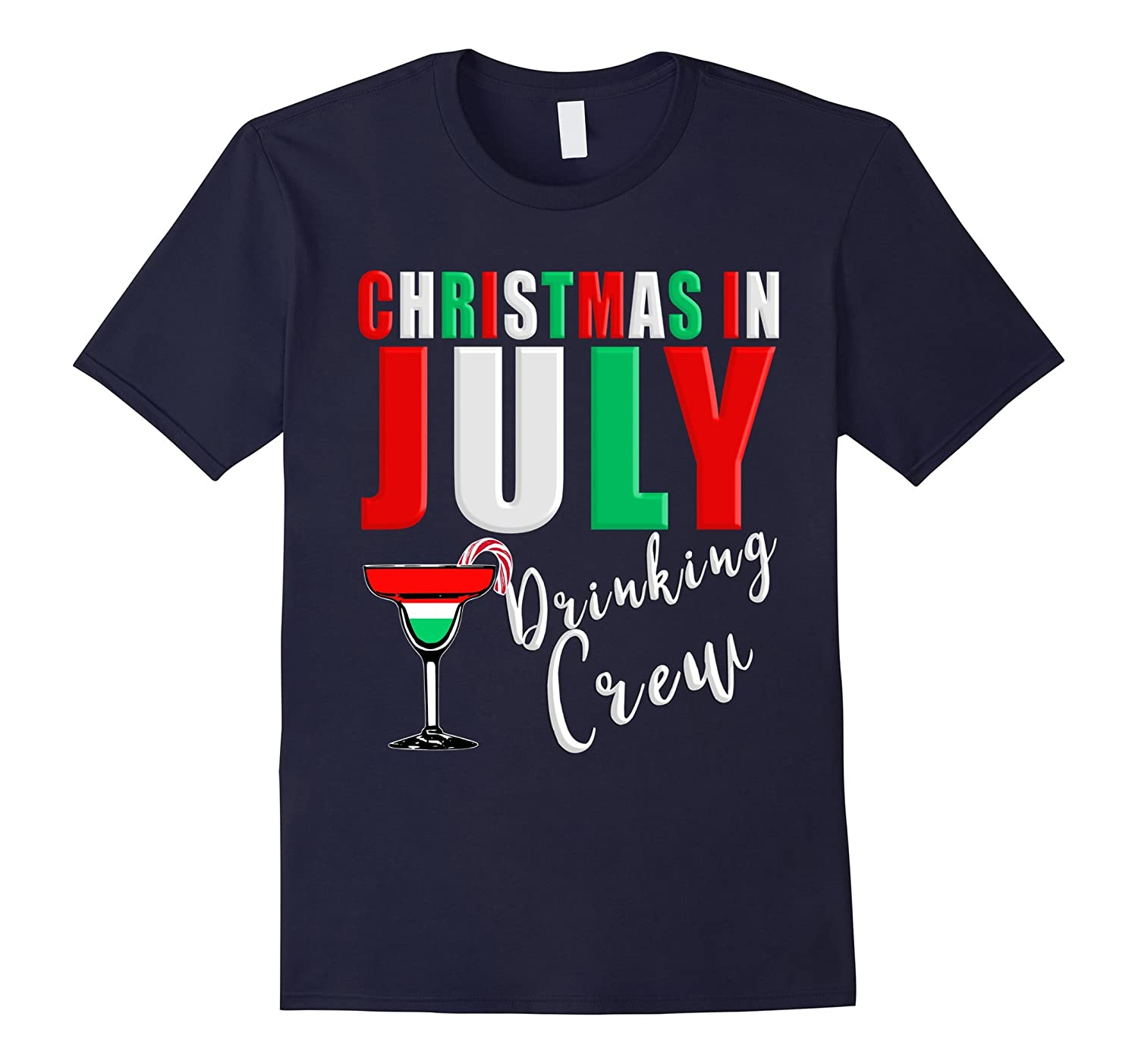 Christmas In July Drinking Crew Cocktail Candy Cane Tee-Art