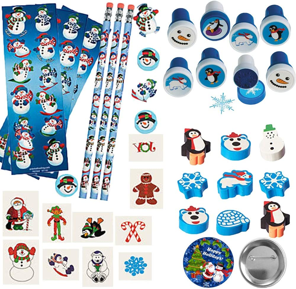 Winter Holiday and Christmas Snowman Activity Craft Kit and School Party Favor Pack For 12 Perfect For Classroom Rewards With Snowman Stationary Sets Holiday Tattoos Winter Stampers and Pin Erasers