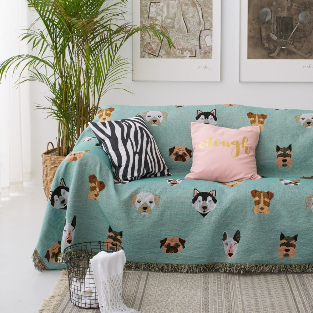 lililili [dogs] Animal cartoon Sofa slipcovers,1-piece With tassel Sofa blanket,Furniture protector,Pet protection Bay window blanket For 1,2,3,4 -A 90x90cm(35x35inch)