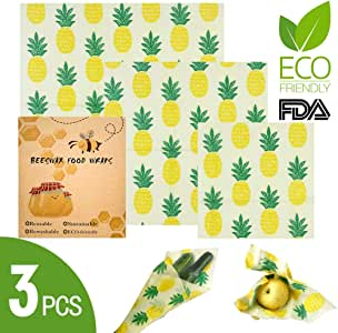 ALLYAOFA Beeswax Wraps, 3PCS Reusable Beeswax Wrap Food Storage, Beeswax Cloth Sustainable, Zero Waste to Keep Foods Fresh Longer, Eco-friendly Food Storage Wraps, Multisized Bees Wrap Food Wrap Cover Bowls, Sandwich, Snacks (pineapple)