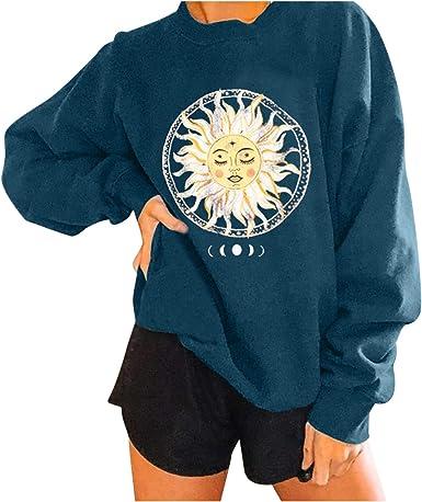 Women Casual Graphic Sun Moon Print Sweatshirt Long Sleeve Crew Neck Pullover Top