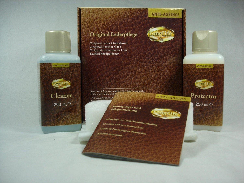 LongLife Lederpflegeset Anti Ageing MAXI, Je 250ml Cleaner U0026 Protector