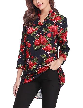 Tunique Femme Longue Blouse Floral Imprime Chemisier Femme Manches Longues  Col V Tops Slim Casual Lache 9d7116d296ee