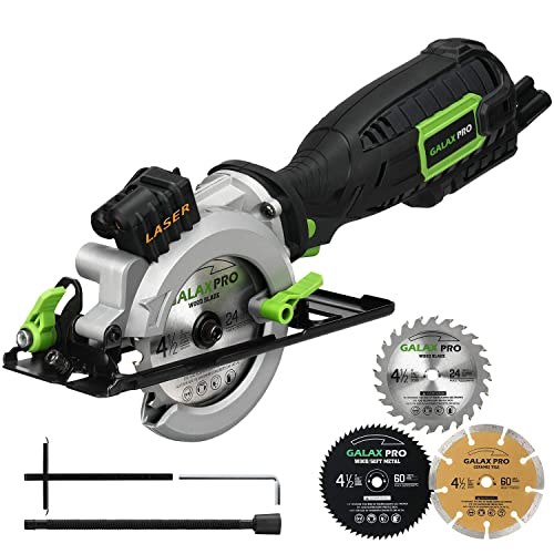 Circular Saw, GALAX PRO 5.8A 3500RPM 4-1 2 Professional Corded Circular Saw with Laser Guide, Rip Guide, Vacuum Adapter, 3Pcs Blades plus 1 Hex Wrench, Max Cutting Depth 1-11 16 90 , 1-1 8 45