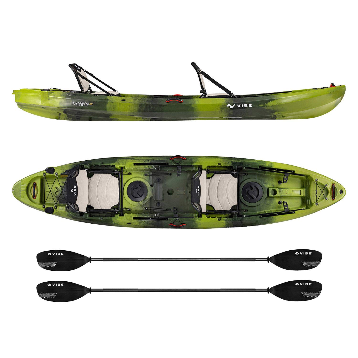 Vibe Kayaks Yellowfin 130T | 13 Foot | Tandem Angler and Recreational Two Person Sit On Top Fishing Kayak with 2 Paddles and 2 Hero Comfort Seats (Moss Camo - Journey Paddle)