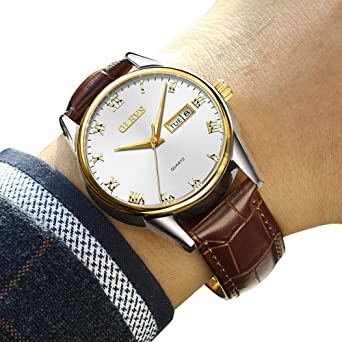 Amazon Watch Men S Top 1 Watch Men S Weekender Calendar Black Brown Strap Mens Watches Classic Casual Watch With Black Blue White Dial Waterproof 30m