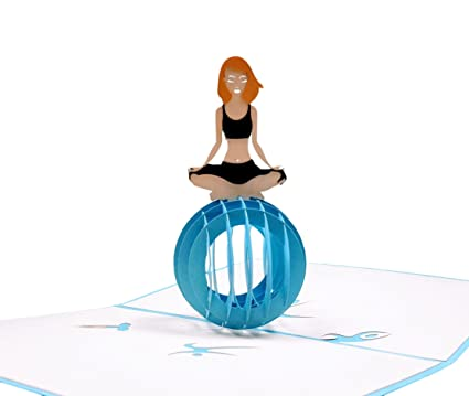 IGifts And Cards Cute Yoga Lady 3D Pop Up Greeting Card