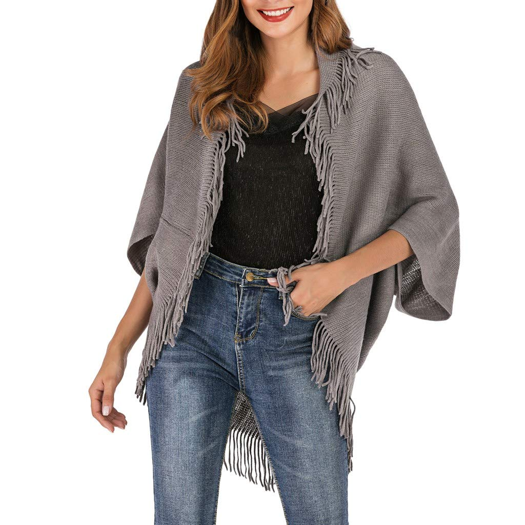 Quartly Women Solid Color Long Sleeve Tassel Loose Knitted Sweater Cover Up Cardigan(Gray,M)