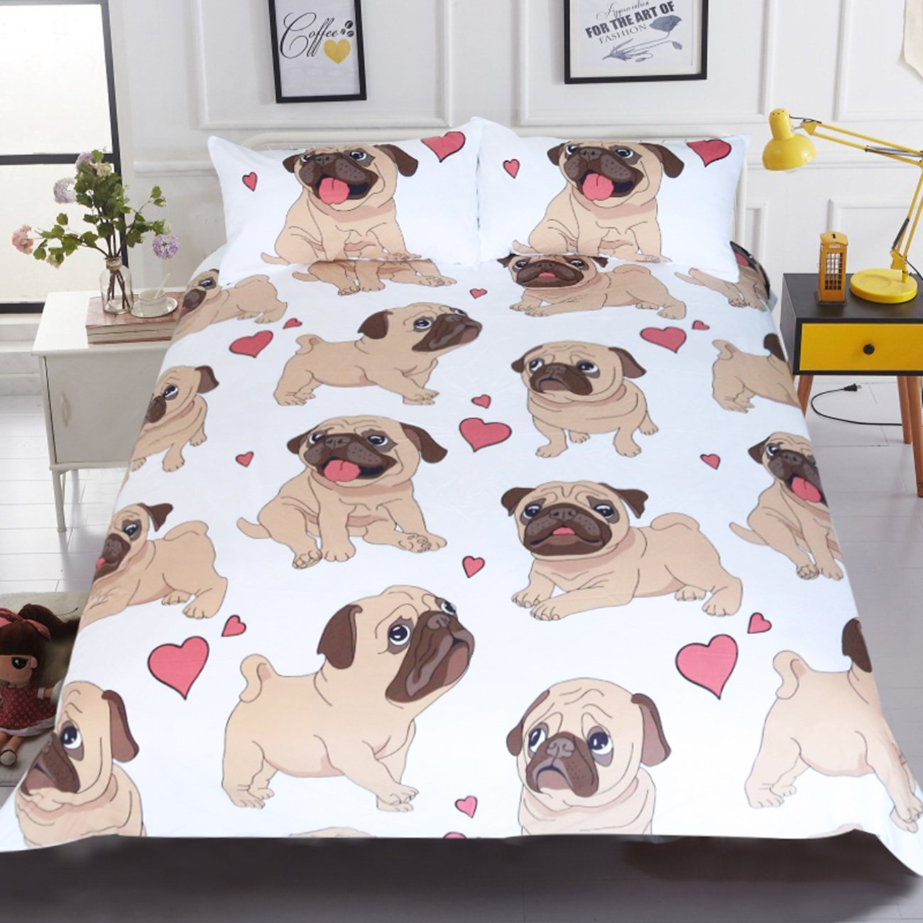 Sleepwish Pug Duvet Cover Cartoon Cute Pug Love Hearts Bedding 3D Boys Girls Pretty Duvet Cover (Queen)
