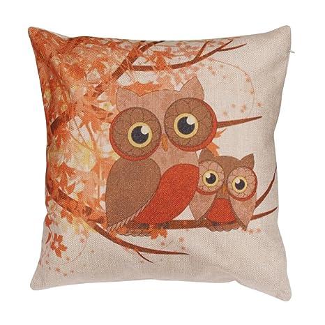 Cartoon Cat búho Funda de almohada sofá cintura Throw Cojín ...