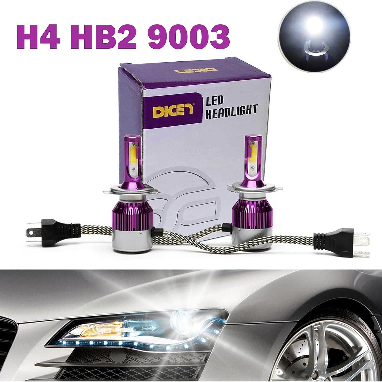 H4 9003 Hb2 Led Headlight Bulbs 12000lm 120w Hi Lo Dual Wiring Diagram Beam Conversion Kit 6000k Cool White Plug Play Cob Chips Super Bright 2 Yr Warranty