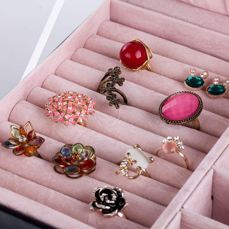 pour colliers 30/x 20,4/x 32,8/cm Bo/îte /à bijoux compos/ée de 5/tiroirs et un niveau sup/érieur avec couvercle montres bagues