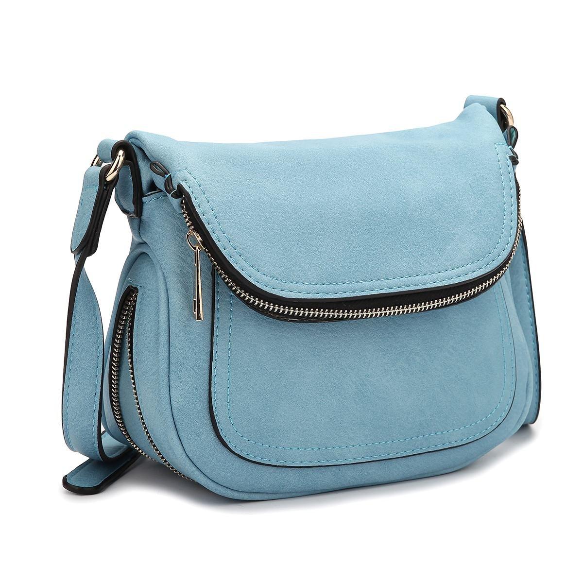 MKY Lightweight Women Leather Saddle Bag Shoulder Crossbody Bag Travel Purse Light Blue