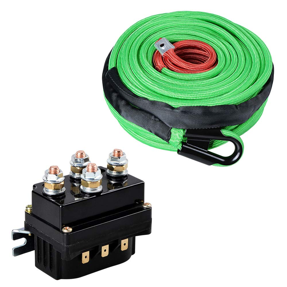 Green 95ft x 3/8'' Synthetic Winch Rope Cable Heat Rock Guard & 12V 500A Winch Solenoid Relay For 8000lbs-12000lbs ATV UTV Electric 4WD Winches by Astra Depot