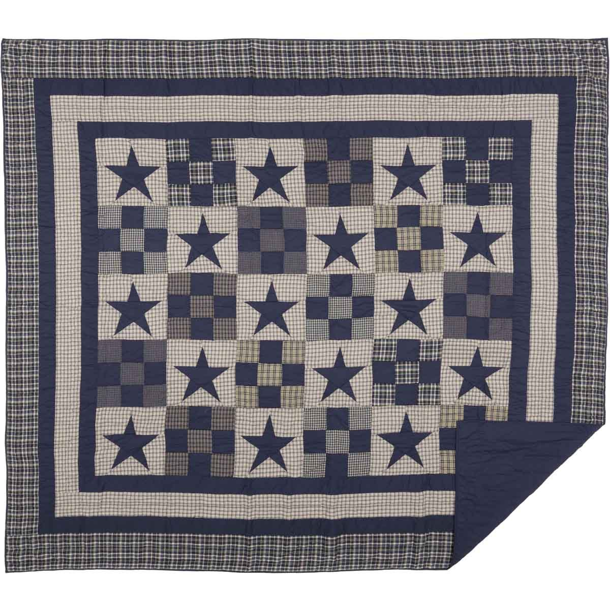 Navy King Ninepatch Star King Quilt by VHC Brands