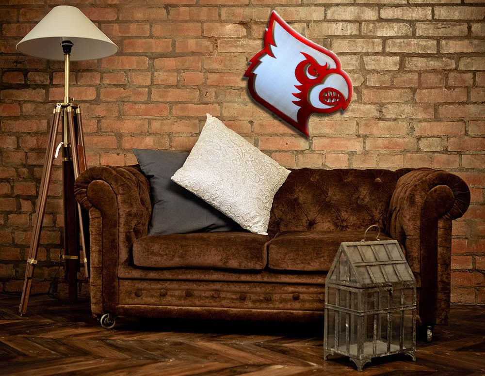 Gear New Louisville Cardinal Head Ali Colors 3D Vintage Metal College Man Cave Art, Large, White/Red