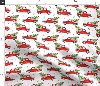 Amazon.com Spoonflower Christmas Tree Fabric , Red Truck