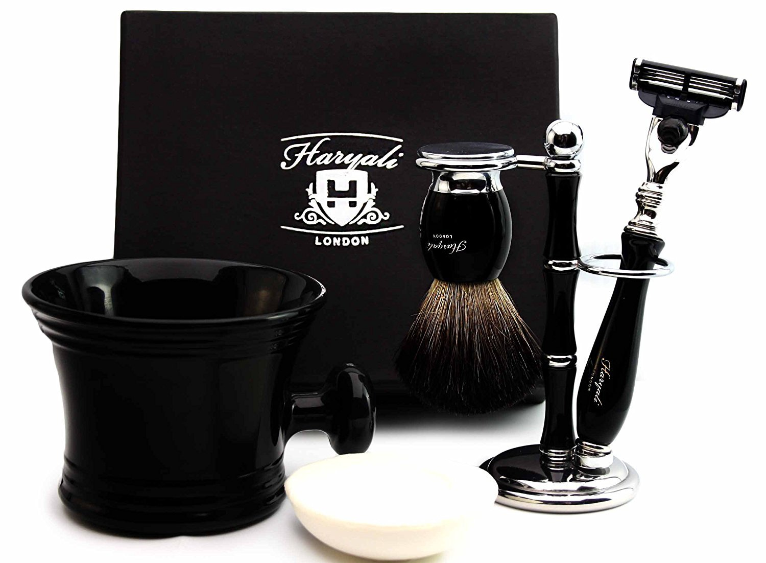 Pure Badger Hair Shaving Set In Black.The Set Contains Shaving Brush,4 Different Type of Razor To choose, Shaving Brush & Razor Holder,Shaving Mug with soap.Perfect For HIM (Gillette Mach 3 Razor)