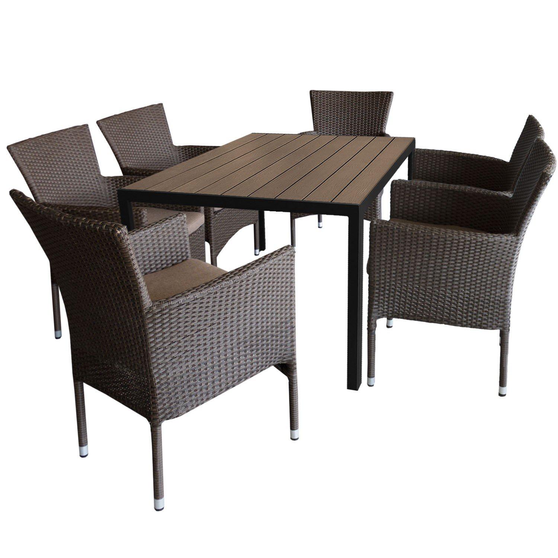 7tlg. Gartengarnitur Aluminium Gartentisch 150x90cm mit Polywood Tischplatte stapelbare Polyrattan Gartensessel braun-meliert inkl. Sitzkissen