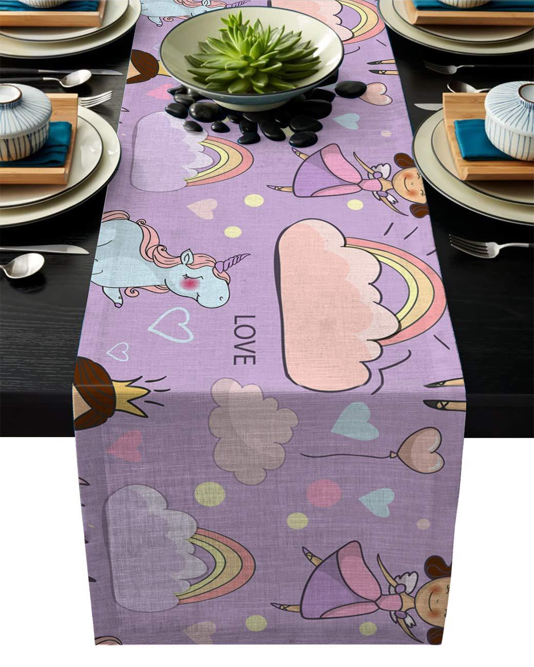 IDOWMAT Linen Burlap Table Runner Dresser Scarves 13 x 90 Inch, Cute Fairy Princess Unicorn Kitchen Table Runners for Farmhouse Dinner, Holiday Parties, Wedding, Events, Decor