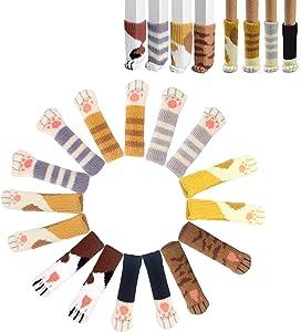 "32PCS (8 Sets) Chair Socks Fancy Cat Paw Chair Socks Non Slip Chair Leg Feet Socks, High Elastic Furniture Socks Pads, Fit Furniture Feet Girth from 2.3"" to 7.1"", Knitted Furniture Cups"