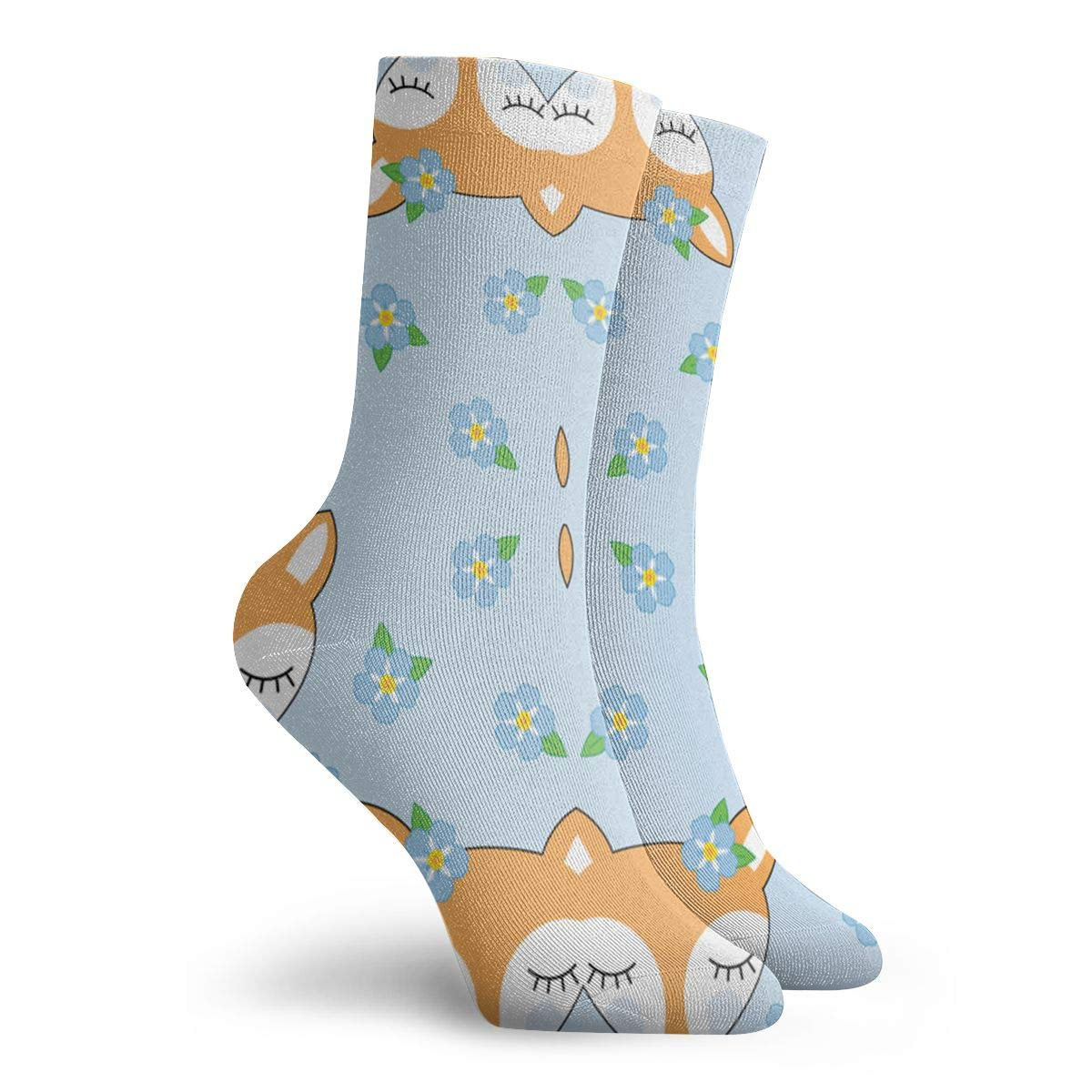 Fox And Flower Pattern Unisex Funny Casual Crew Socks Athletic Socks For Boys Girls Kids Teenagers