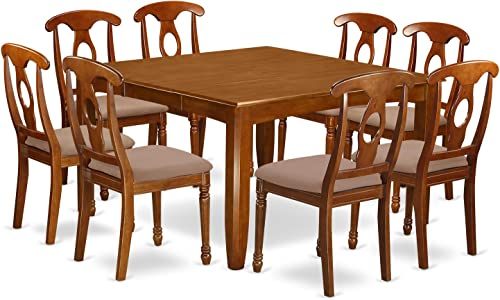 PFNA9-SBR-C 9 Pc Dining room set-Kitchen Table with Leaf and 8 Dinette Chairs.
