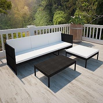 mewmewcat Conjunto Muebles de Jardín 9 Piezas con Mesa de Centro,Sofa Exterior para Jardín Balcón Patio Piscina Terraza Negro und Blanco Crema: Amazon.es: Deportes y aire libre