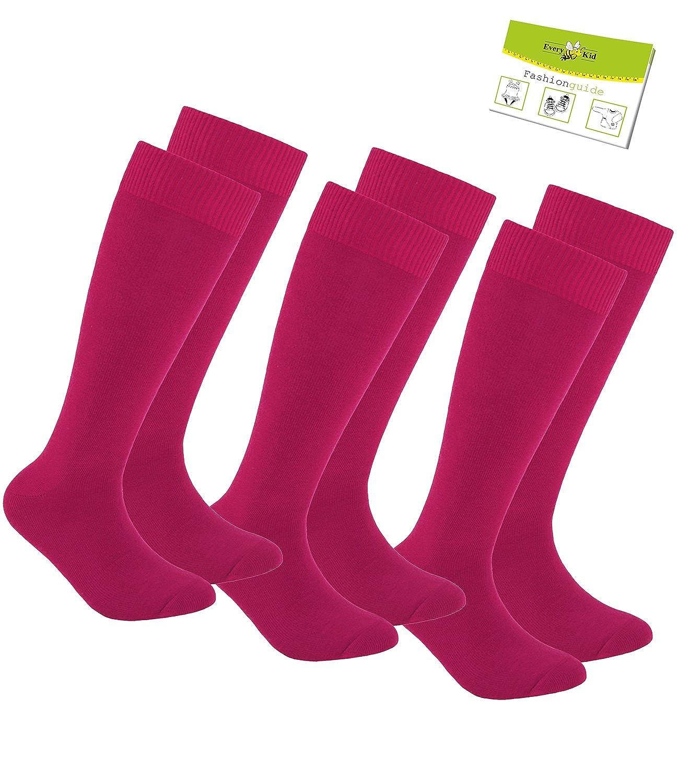 EveryKid Ewers 1er, 2er oder 3er Pack Mädchenkniestrümpfe Kniestrümpfe Strümpfe Sommersocken Markensocken Socken einfarbig für Kinder (EW-64223-S17-MA2) inkl Fashionguide