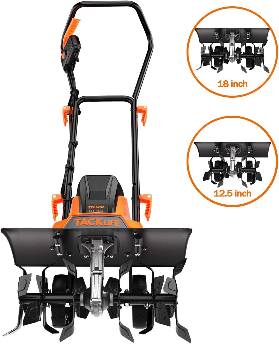 TACKLIFE Advanced Tiller, 18-Inch Electric Tiller, 13.5 Amp, Removable Blade, Adjustable Working Width(18''/12.5''), 8'' Tilling Depth, Foldable Handle, Adjustable Wheels, Tiller Cultivator - TGTL01A