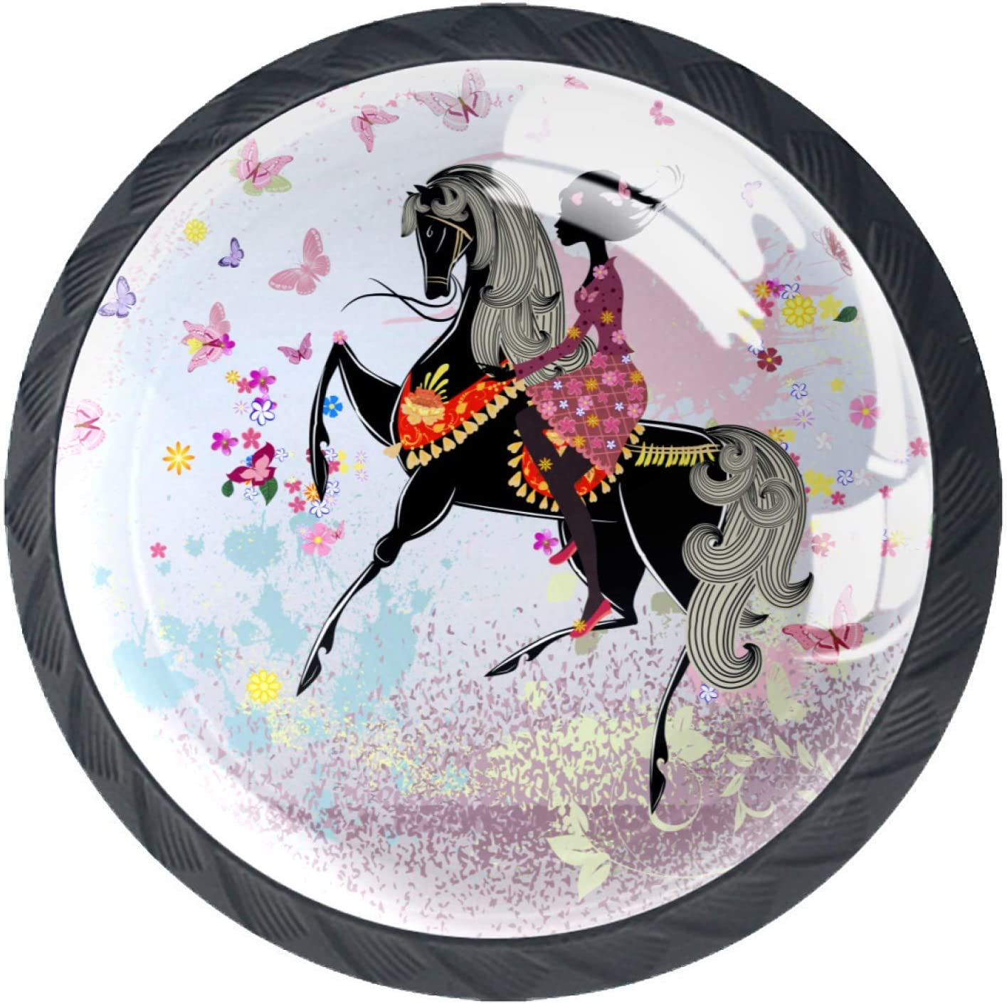 4 Pcs Round Furniture Knob,Drawer Dresser Cupboard Wardrobe Pulls Handles for Home Kitchen,Pink Fairy Butterfly Girl Floral Horse