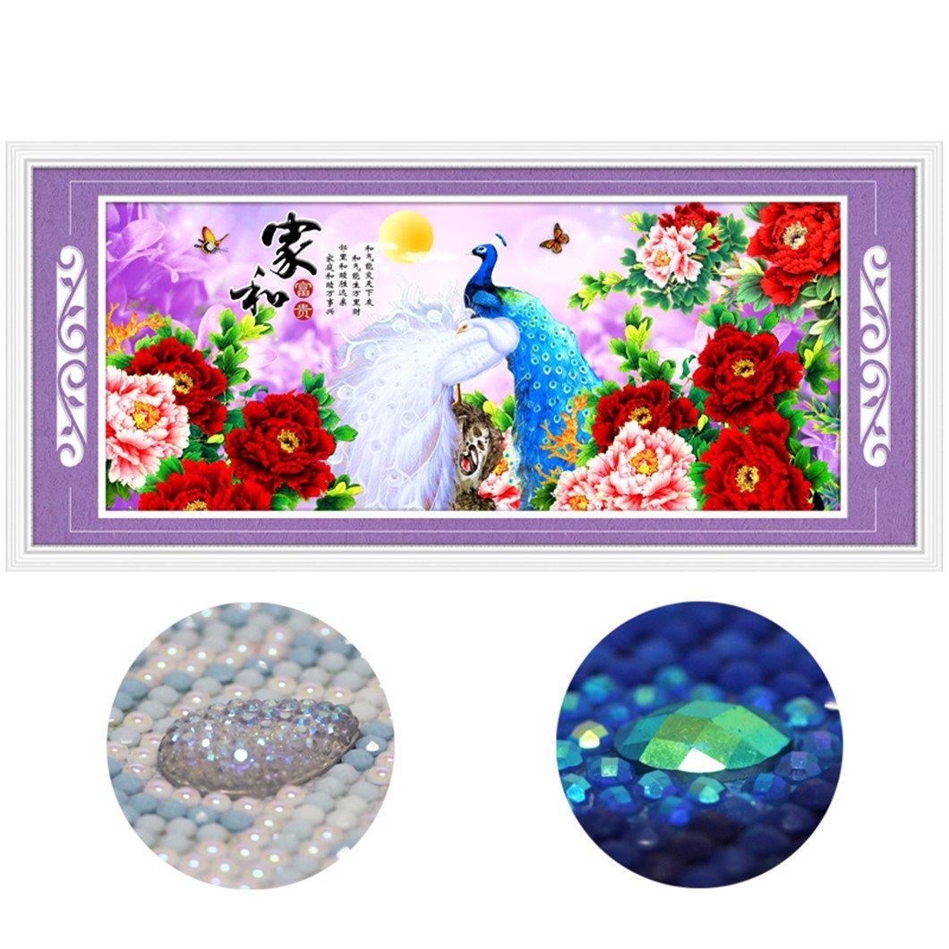 Mazixun 3D Special Shaped Diamond Embroidery Peacock Chinese Style 5D Diamond Painting Cross Stitch Diamond Mosaic Decoration 80x180CM