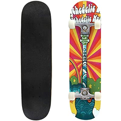 Classic Concave Skateboard 1960s Psychedelic Poster Vintage Colors Electric Guitar Hippie Life Longboard Maple Deck Extreme Sports and Outdoors Double Kick Trick for Beginners and Professionals : Sports & Outdoors
