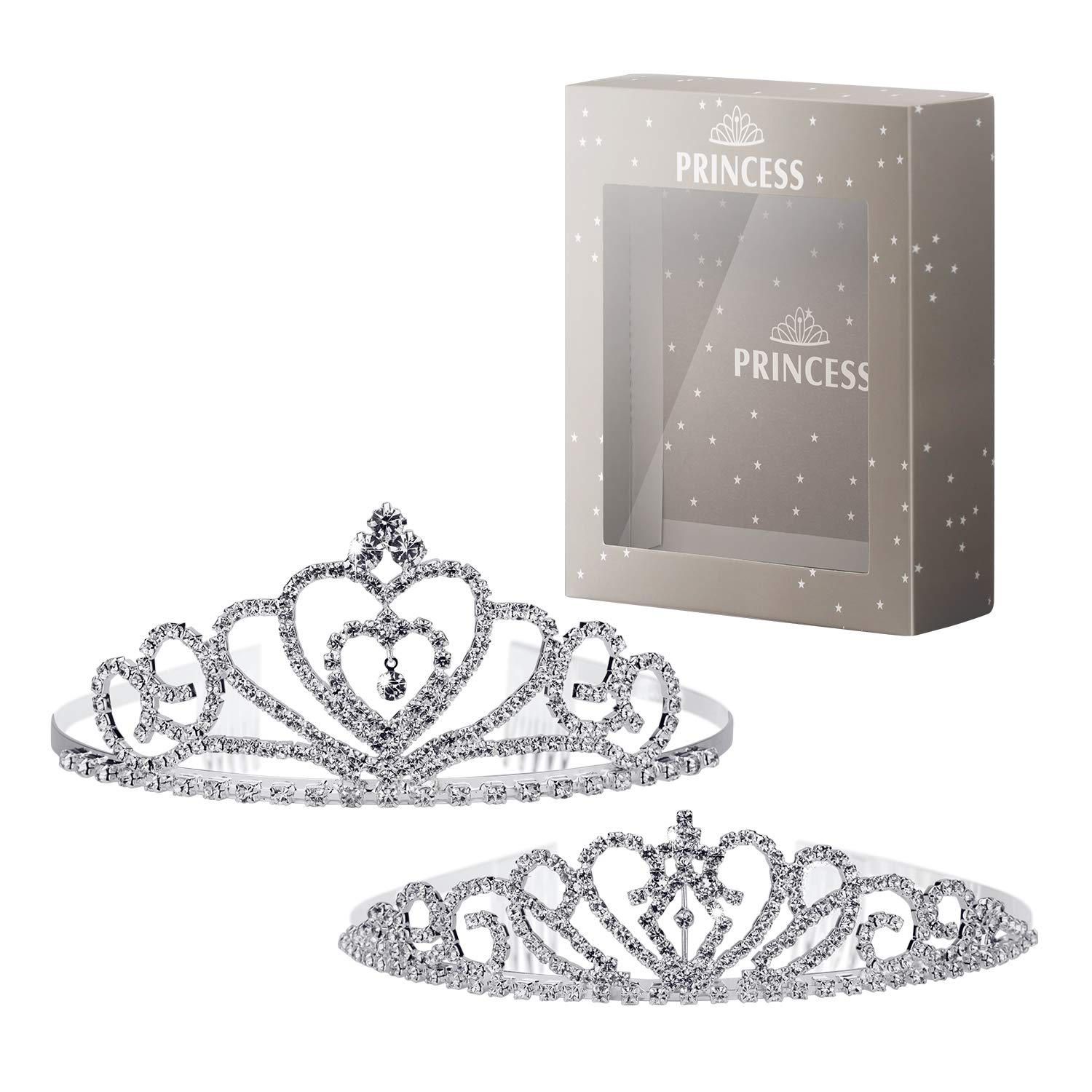 Rhinestone Crystal Tiara Crown Queen Crown, Birthday Pageant Wedding Prom Bridal Crown, Gorgeous Princess Crown for Girl or Women, Exquisite Decor Headband with Comb Pin(2 PACK) AwesomeWare