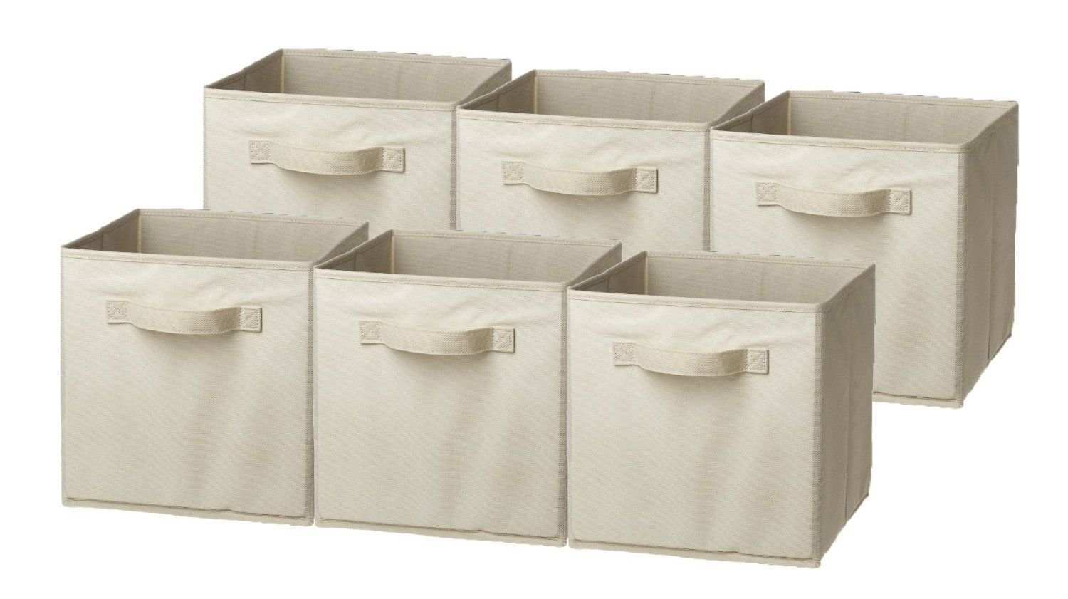 New Basket Bin Foldable collapsible Storage Cube containers, 6 Pack, Beige